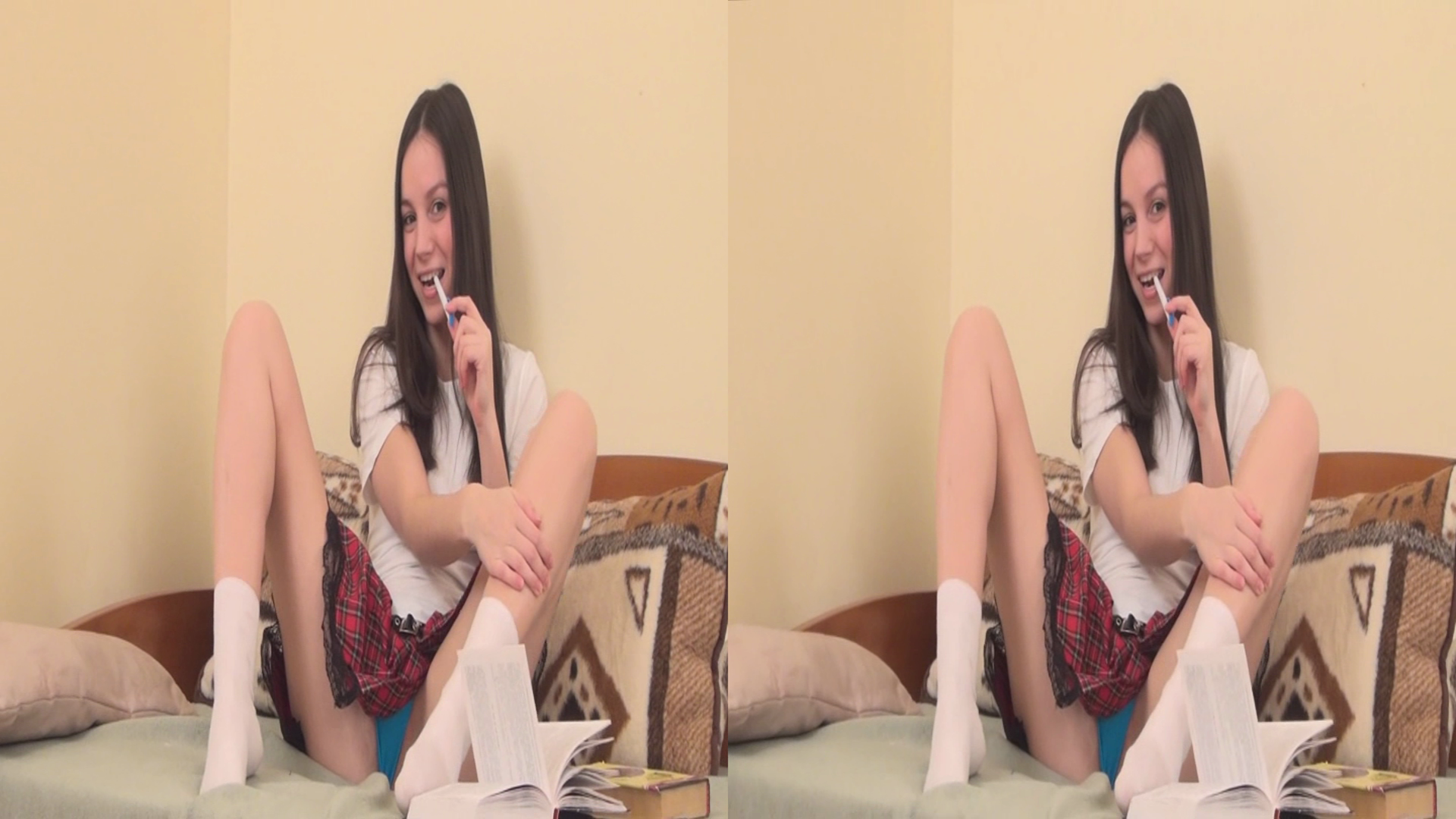 cute russian schoolgirl strips and masturbates in SBS 3D